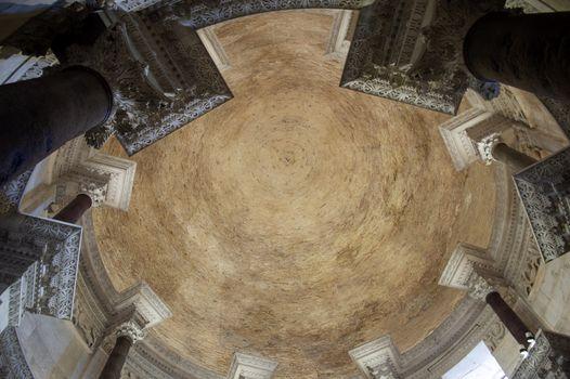 Inside croatian church dome in sacred building closeup.