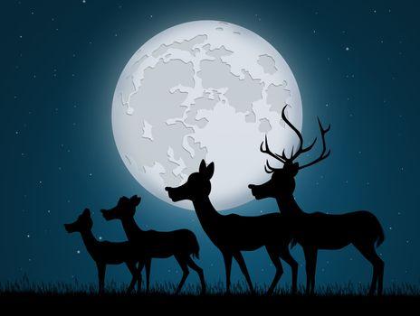 reindeer in the moonlight