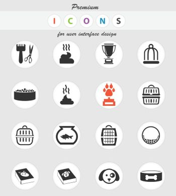 goods for pets vector icons for user interface design