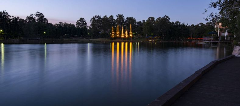 Beautiful lake in Springfield Lakes, Ipswich City, Queensland at dusk.