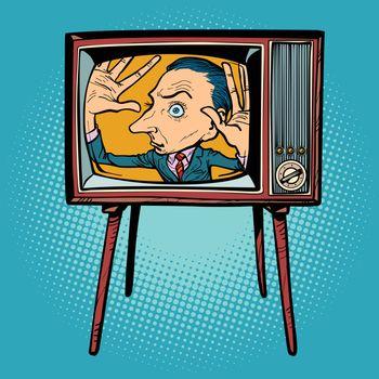 man inside TV