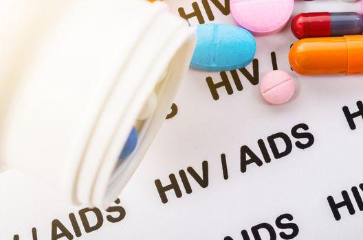 Pills on Hiv / aids concept.