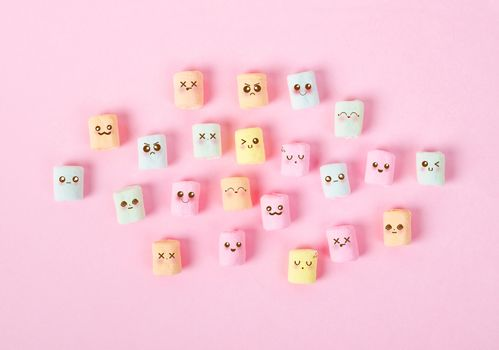 Cute marshmallow with emotion face.