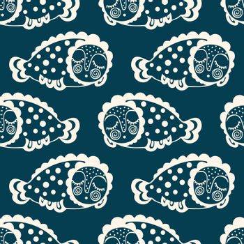 seamless pattern with fantastic sleeping fish. vector.