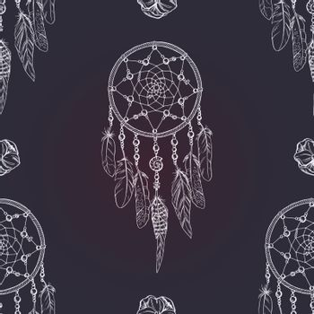 Vector seamless pattern with white outline Dream catcher on dark blue background. Luxury dream catcher with flowers and beads.