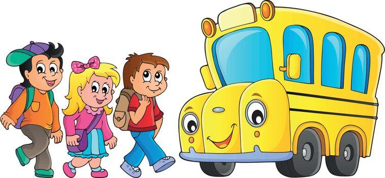 Children by school bus theme image 1 - eps10 vector illustration.