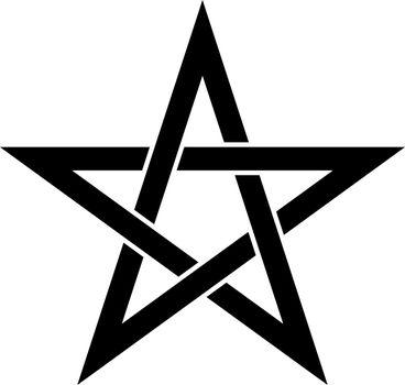 Pentagram sign - five-pointed star. Magical symbol of faith. Simple flat black illustration