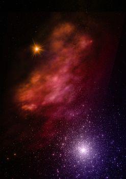 Being shone nebula. 3D rendering