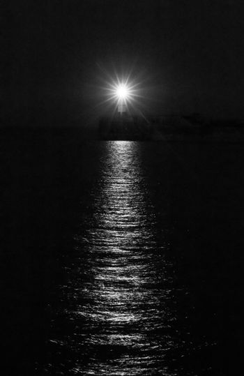 Newhaven Lighthouse at Night in Black and White