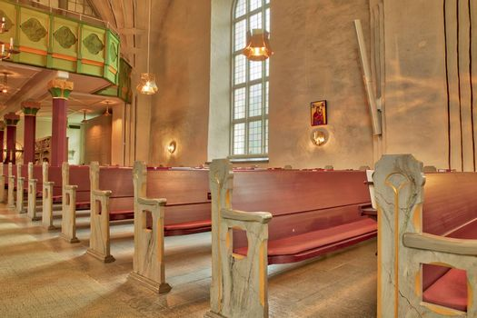 Rows of Benches in Church.