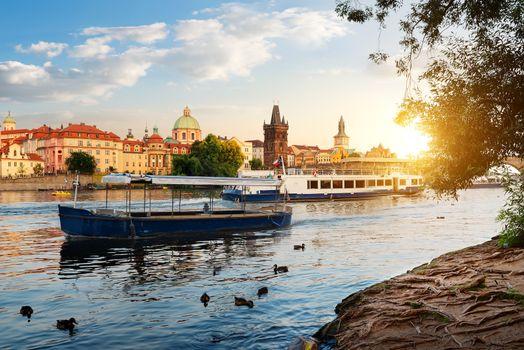 Boats on Vltava river