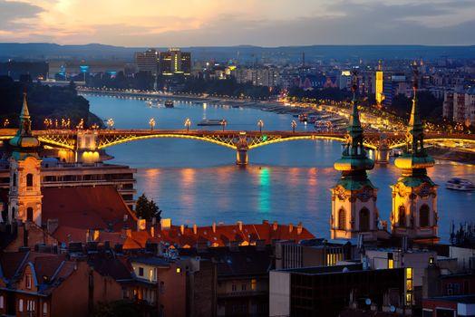 Budapest in evening illumination