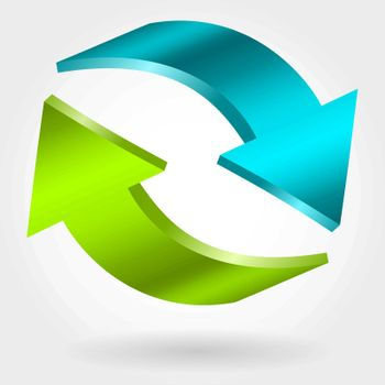 Counter blue and green arrows. Photorealistic 3d illustration. Exchange and recovery symbol