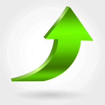 Green arrow pointing upwards. Growing business concept