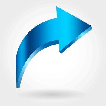 Blue rising arrow. Growing business concept