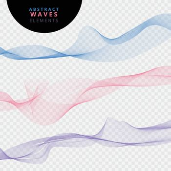 Set of abstract lines waves on transparent background. Futuristic web swoosh wave collection. Vector illustration