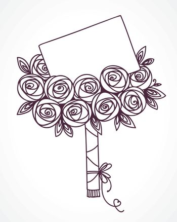 Bouquet of roses with message card. Hand drawing stylized flowers as gift with letter
