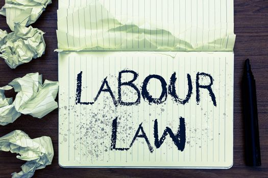 Word writing text Labour Law. Business concept for Rules implemented by the state between employers and employee Open notebook page crumpled papers ripped pages several tries mistakes