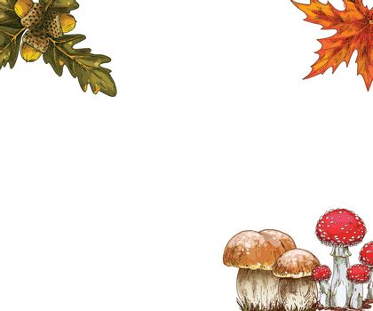 Autumn design collection. Edging of bright oak and maple leaves, mushrooms. Vector illustration.
