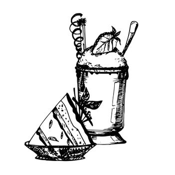 Hand Drawn Sketch of Coffee and Cake. Vintage Sketch. Great for Banner, Label, Poster