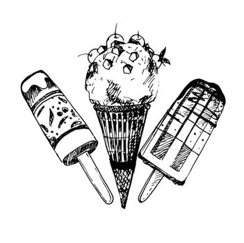 Hand Drawn Sketch of Ice Cream. Vintage Sketch. Great for Banner, Label, Poster