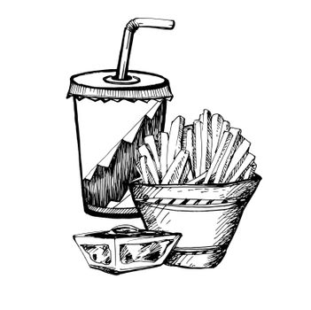 Hand Drawn Sketch of Fast Food. Vintage Sketch. Great for Banner, Label