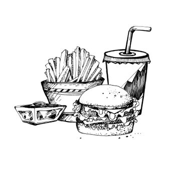 Hand Drawn Sketch of Fast Food Theme. Vintage Sketch. Great for Label, Poster