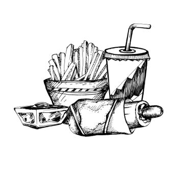 Hand Drawn Sketch of Fast Food Theme. Vintage Sketch. Great for Banner, Label, Poster