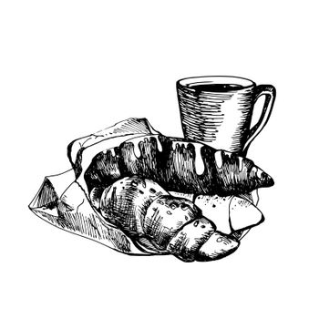 Hand Drawn Sketch of Croissants and Coffee Cup. Vintage Sketch. Great for Banner, Label, Poster