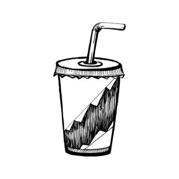Hand Drawn Sketch of Soda Cup. Vintage Sketch. Great for Banner, Label, Poster