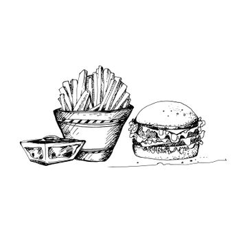 Hand Drawn Sketch of Fast Food Theme. Great for Banner, Label, Poster