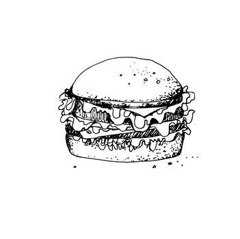 Hand Drawn Sketch of Big Burger. Vintage Sketch. Great for Banner, Label, Poster
