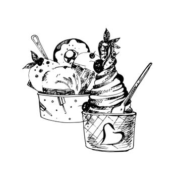 Hand Drawn Sketch of Set Ice Cream in Bowls. Vintage Sketch. Great for Banner, Label, Poster
