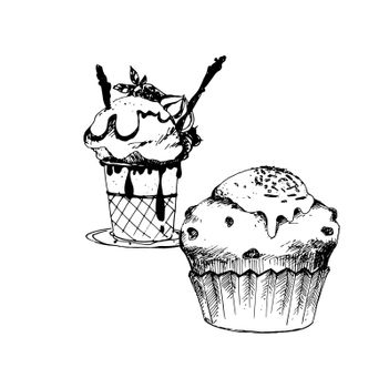 Hand Drawn Sketch of Cake and Ice Cream in Bowl. Vintage Sketch. Great for Banner, Label, Poster