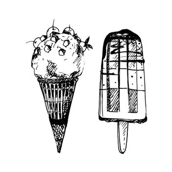 Hand Drawn Sketch of Ice Cream. Vintage Sketch. Great for Label, Poster