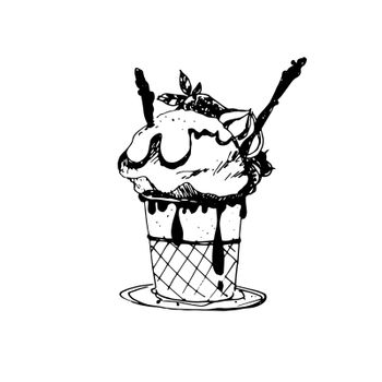 Hand Drawn Sketch of Ice Cream in Bowl. Vintage Sketch. Great for Banner, Label, Poster