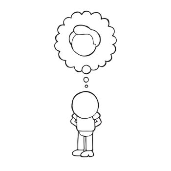 Vector hand-drawn cartoon of bald man standing imagine with thou