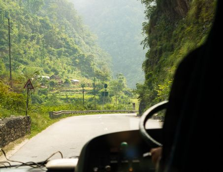 Bus ride on Prithvi Highway between Kathmandu and Pokhara in Nepal