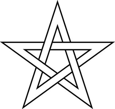 Pentagram sign - five-pointed star. Magical symbol of faith. Simple flat white illustration with black outline