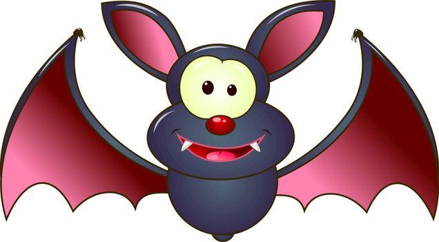 Cartoon bat on white background. The gray bat is a vampire.