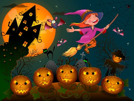 Night on Halloween. A little witch flies on a broom.  Joyful little witch flying on a broomstick in the night sky, against the backdrop of a castle, a pumpkin and trees, surrounded by bats. Witch and cat flying on a broom.