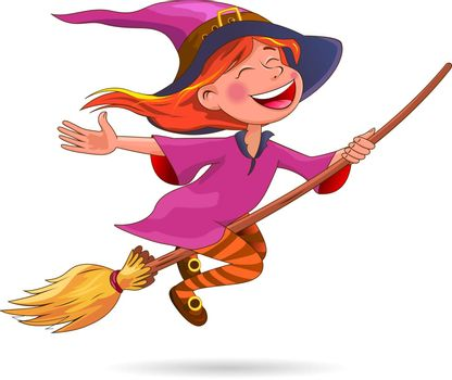 A little witch flies on a broom. Witch with a broom on a white background.