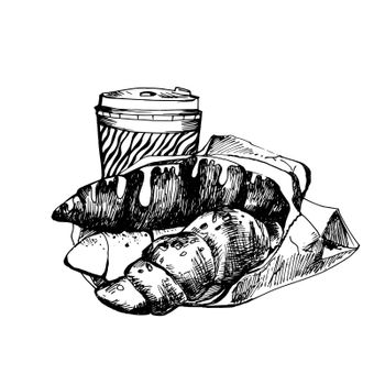 Hand Drawn Sketch of Croissants and Coffee. Vintage Sketch. Great for Banner, Label, Poster