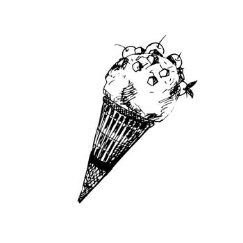 Hand Drawn Sketch of Ice Cream in a Cone. Vintage Sketch. Great for Banner, Label, Poster