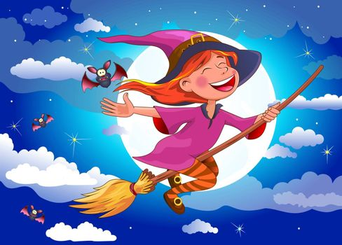 Night on Halloween. A little witch flying on a broomstick. A joyous little witch flies on a broomstick in the night sky, against the background of the moon and clouds, surrounded by bats.