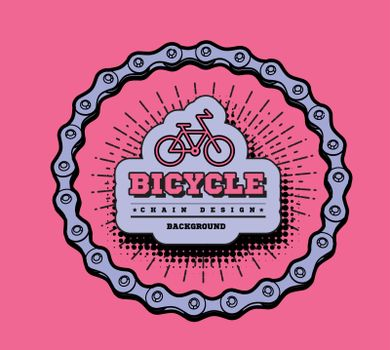 Bicycle chain in the form of a circle. 3D design. Vector illustration in retro doodle style