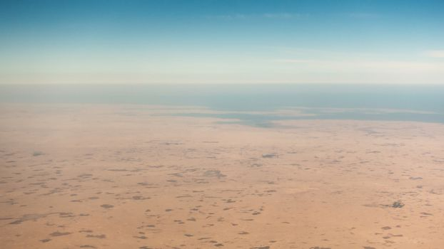Coastal desert aerial view in the Persian Gulf