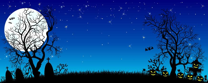 Night on Halloween. Pumpkins, silhouettes of trees, grass , scarecrow, cemetery in the background of the moon and the starry sky. The dark blue starry sky and the bright white moon.