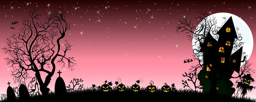 Night on Halloween. Pumpkins, castle, silhouettes of trees, grass, scarecrow, cemetery in the background of the moon and the starry sky. The dark pink starry sky and the bright white moon.