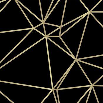 Golden lines vector illustration in art deco style on dark background